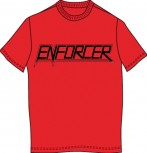 ENFORCER - Logo TS on red shirt, S